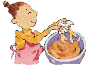 illustration of girl stirring dough
