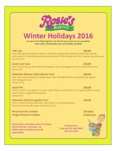2017 Winter Holidays Menu