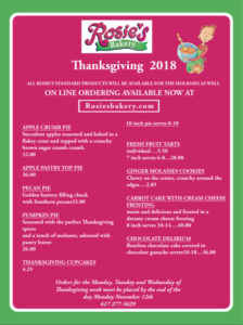 2018 Thanksgiving Menu from Rosie's Bakery