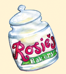 illustration of Rosie's Bakery cookie jar
